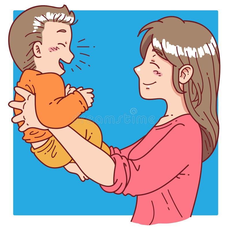 La mère tiennent son fils illustration de vecteur