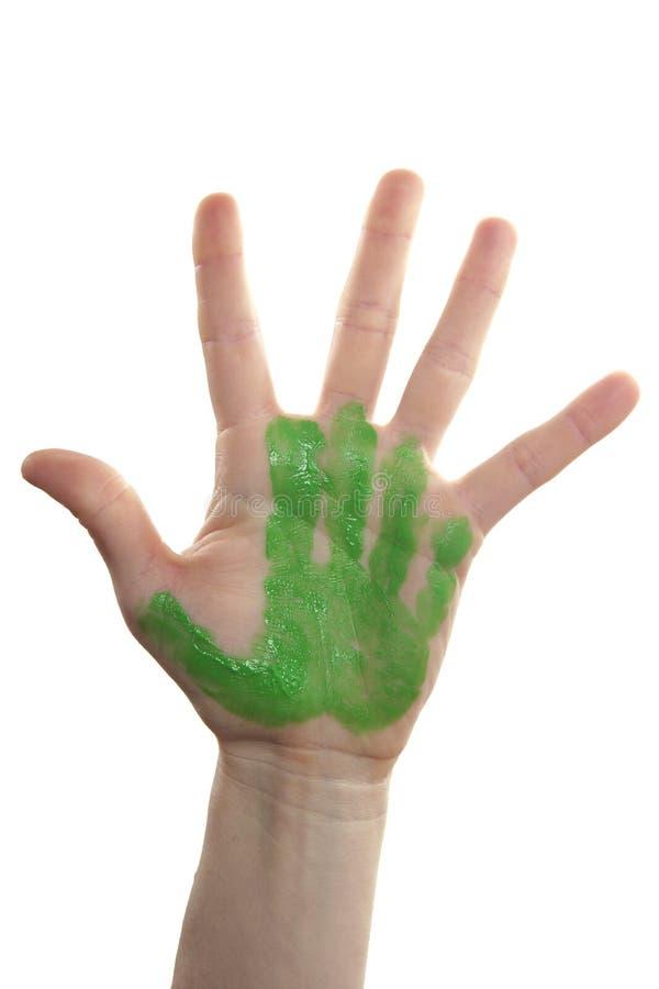la mère verte de main d'enfants a peint photographie stock