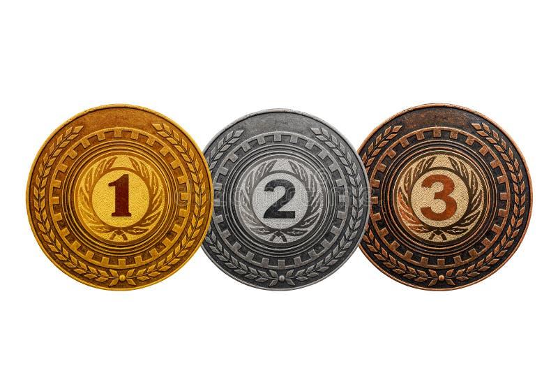 La médaille attribuant l'or, argent, se bronzent d'isolement sur le fond blanc images stock