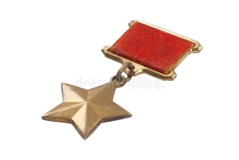 La médaille d'étoile d'or qui identifie des destinataires du ` de héros de ` de titre dans l'Union Soviétique photographie stock libre de droits