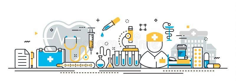 La médecine et les soins de santé entretiennent la bannière début pour le site Web de débarquement de page illustration de vecteur