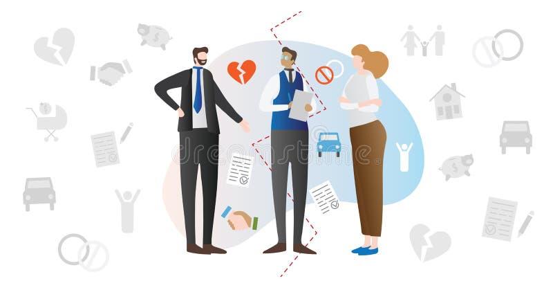 La médiation de divorce a marié l'illustration de vecteur de concept de conflit de couples illustration stock
