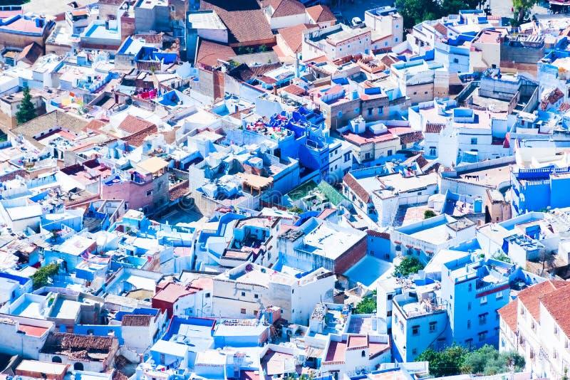 La Médina bleue de la vue panoramique de Chefchaouen du point de vue de montagne, Maroc photos libres de droits