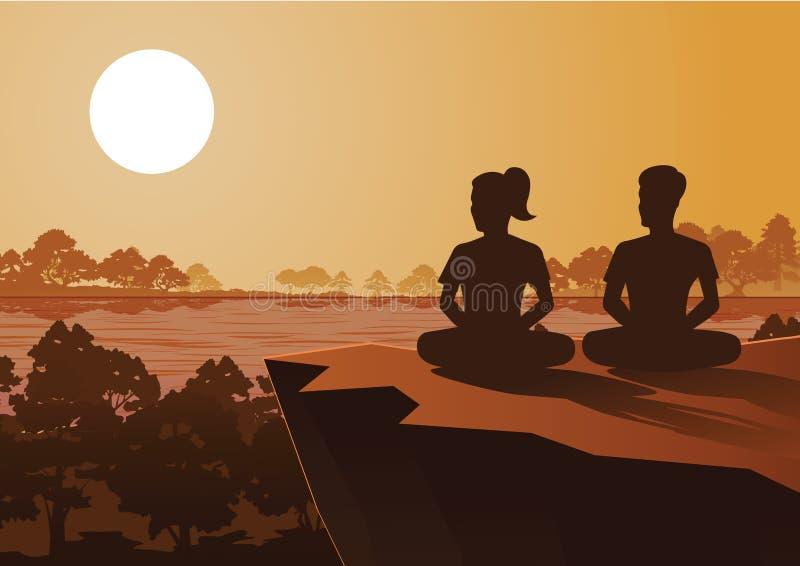 La méditation bouddhiste de train de femme et d'homme à sortir à la paix et souffrent sous l'arbre illustration stock
