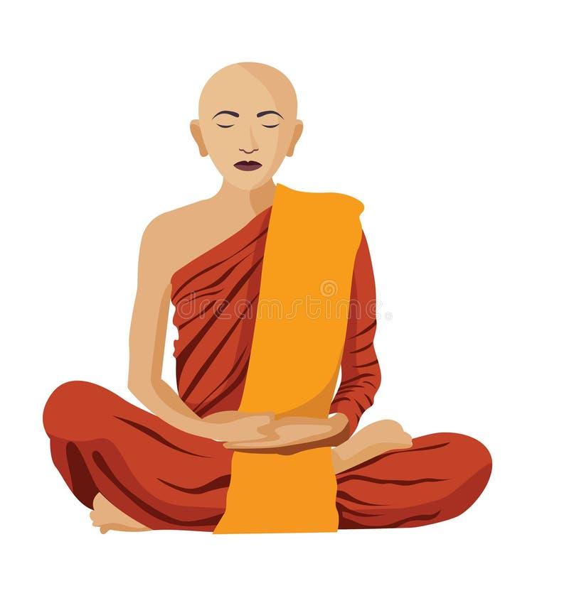 La méditation tibétaine bouddhiste de moine a isolé illustration de vecteur