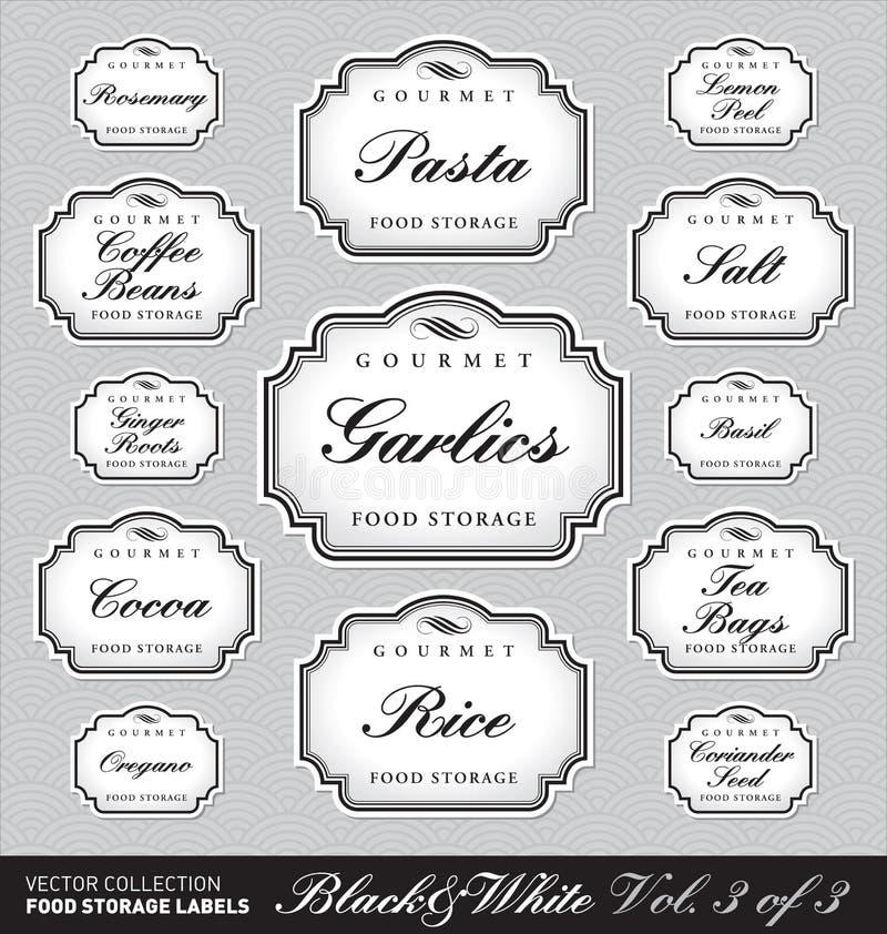 La mémoire fleurie de nourriture étiquette vol1 (le vecteur) illustration stock