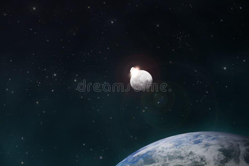 La météorite effectue la lune illustration libre de droits