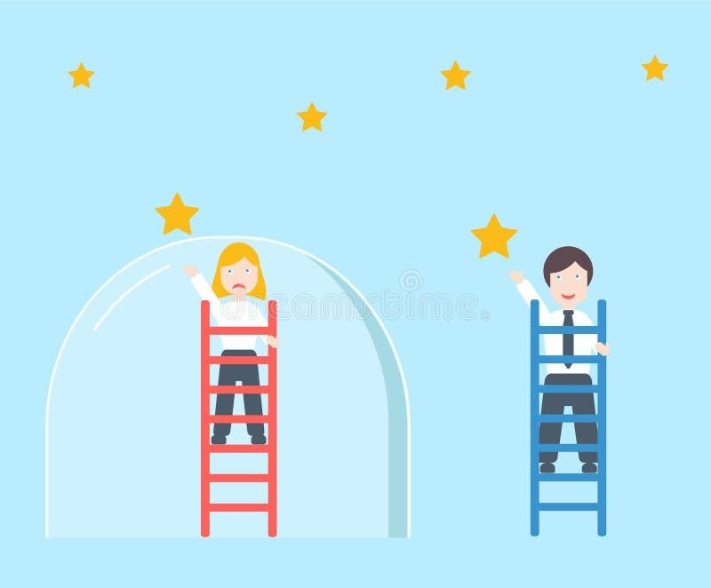 La métaphore de plafond en verre, l'inégalité de genre et le concept de discrimination illustration libre de droits