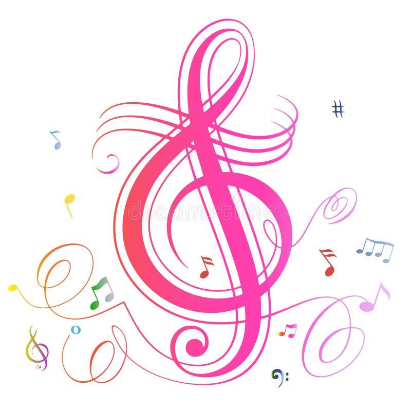 La música abstracta observa el fondo colorido stock de ilustración