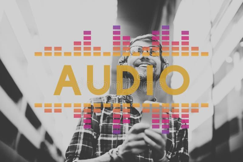 La música audio del equalizador de Digitaces adapta concepto del gráfico de la onda acústica imágenes de archivo libres de regalías
