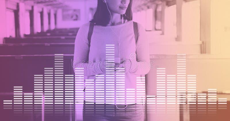 La música audio del equalizador de Digitaces adapta concepto del gráfico de la onda acústica fotografía de archivo