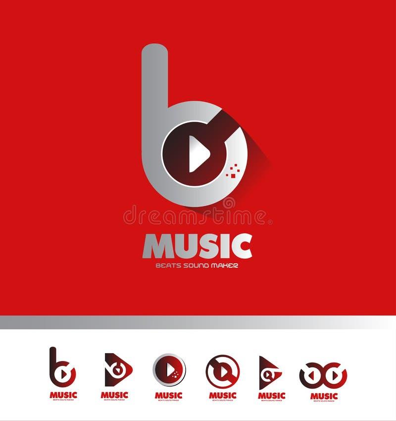La música bate el icono del logotipo del buton del juego stock de ilustración