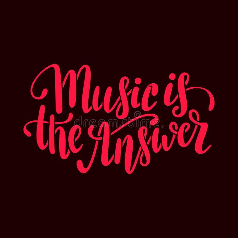 La música es la respuesta Dé las letras exhaustas del vector en colores de marrón y de rojo libre illustration