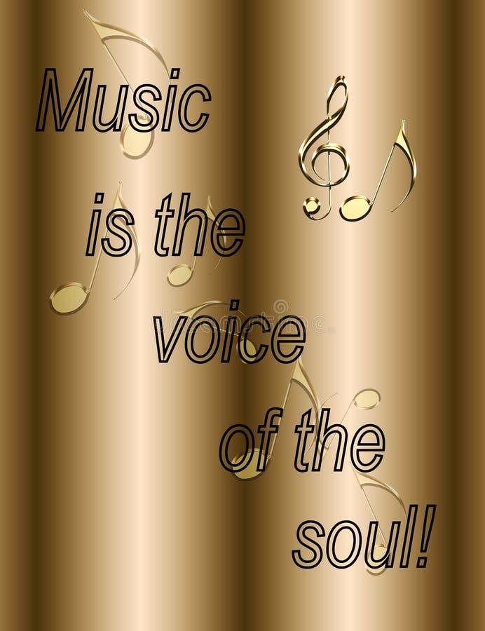 La música es la voz del ejemplo del alma - notas musicales de oro ilustración del vector