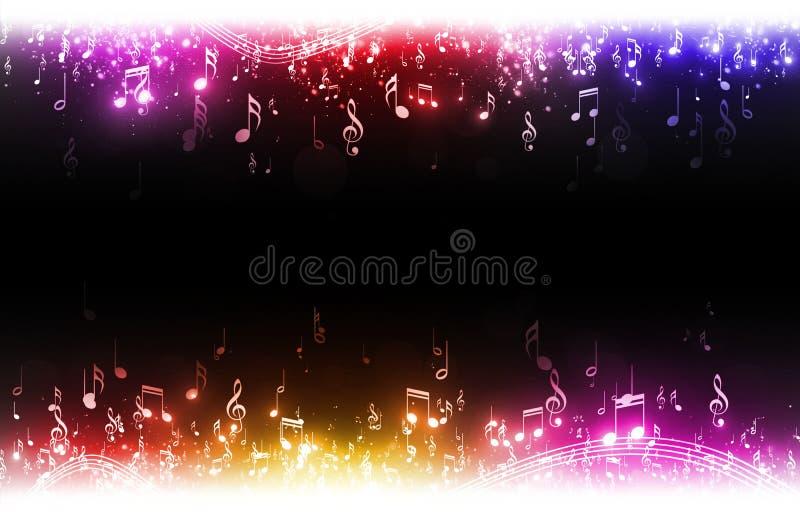 La música multicolora observa el fondo stock de ilustración