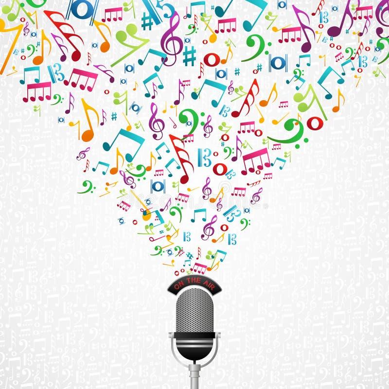La música observa el ejemplo del micrófono stock de ilustración