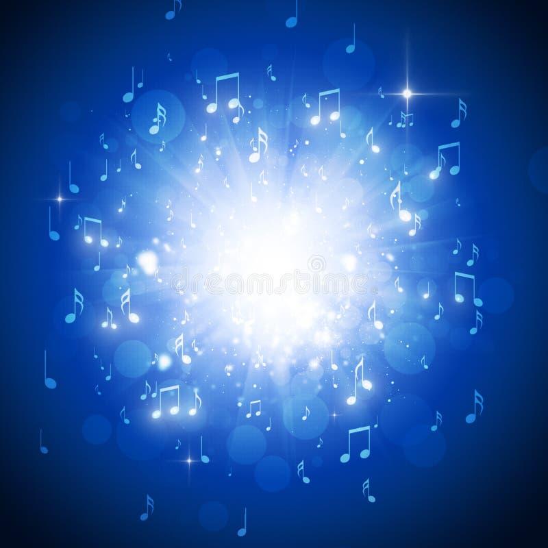 La música observa el fondo azul ilustración del vector