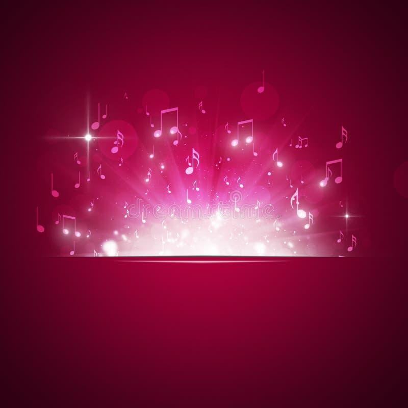 La música observa el fondo del rojo de la explosión ilustración del vector