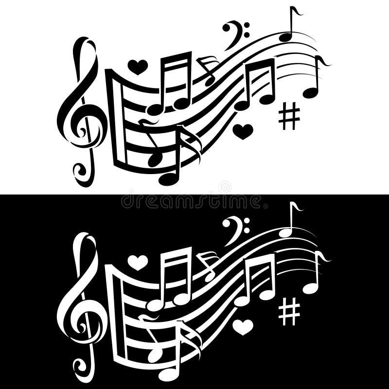 La música observa el icono de la melodía Diseño blanco y negro Dos variaciones stock de ilustración