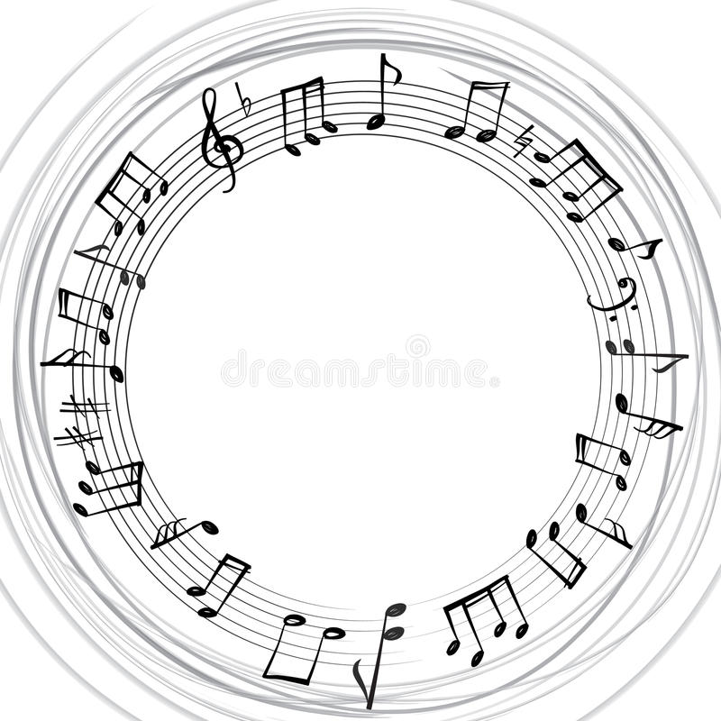 La música observa la frontera Fondo musical Forma redonda del estilo de la música stock de ilustración