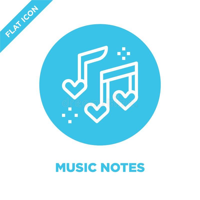 la música observa vector del icono de la colección del amor Línea fina ejemplo del vector del icono del esquema de las notas de l ilustración del vector