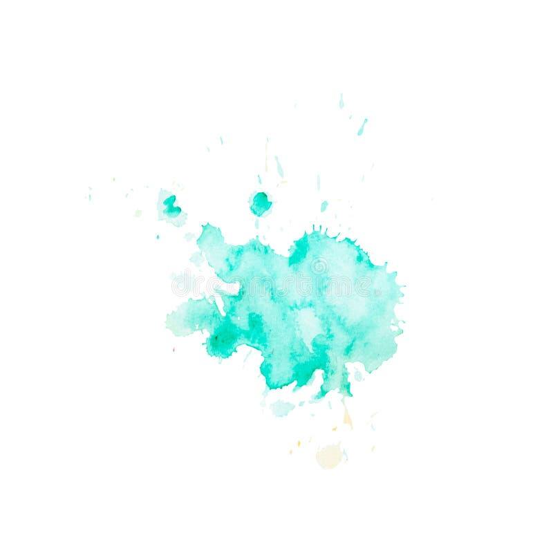 La macchia dell'acquerello dell'acqua con spruzza e macchia Disegnato a mano illustrazione vettoriale