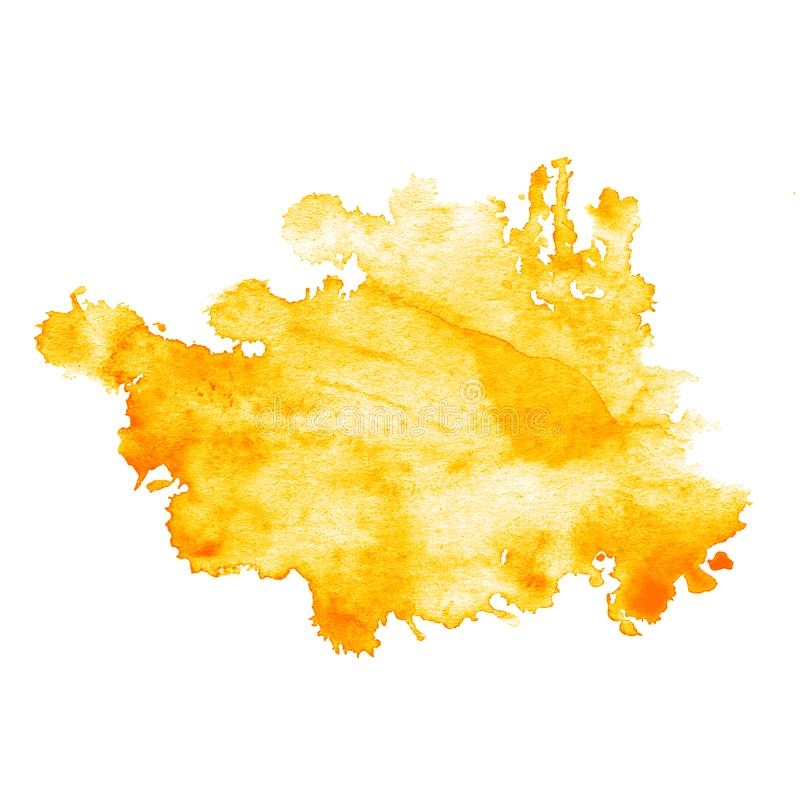 La macchia dell'acquerello dell'arancia con spruzza e macchia Disegnato a mano royalty illustrazione gratis