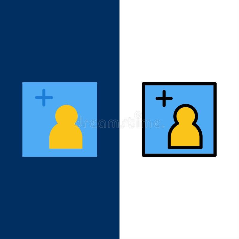 La macchina fotografica, aggiunge, rappresenta le icone Il piano e la linea icona riempita hanno messo il fondo blu di vettore illustrazione vettoriale