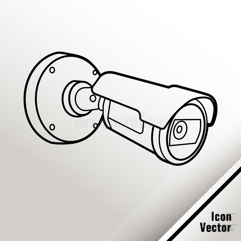 La macchina fotografica del CCTV di videosorveglianza ha descritto l'icona su fondo bianco illustrazione vettoriale