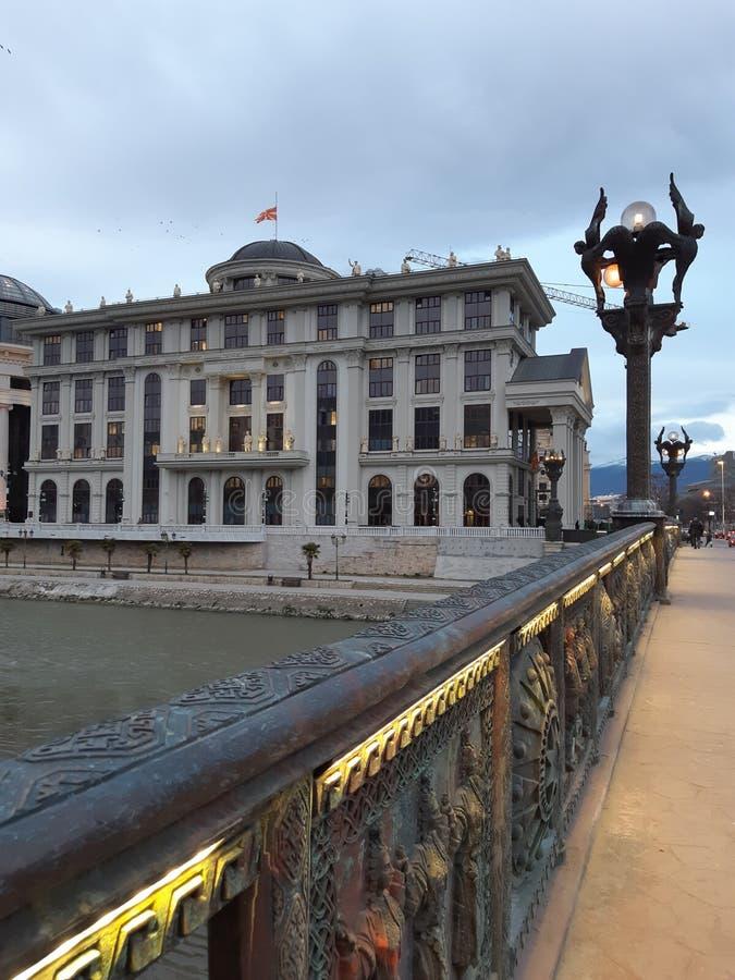 La Macedonia, Skopje, città, architettura, luce del giorno, turismo, arte, quadrato immagine stock