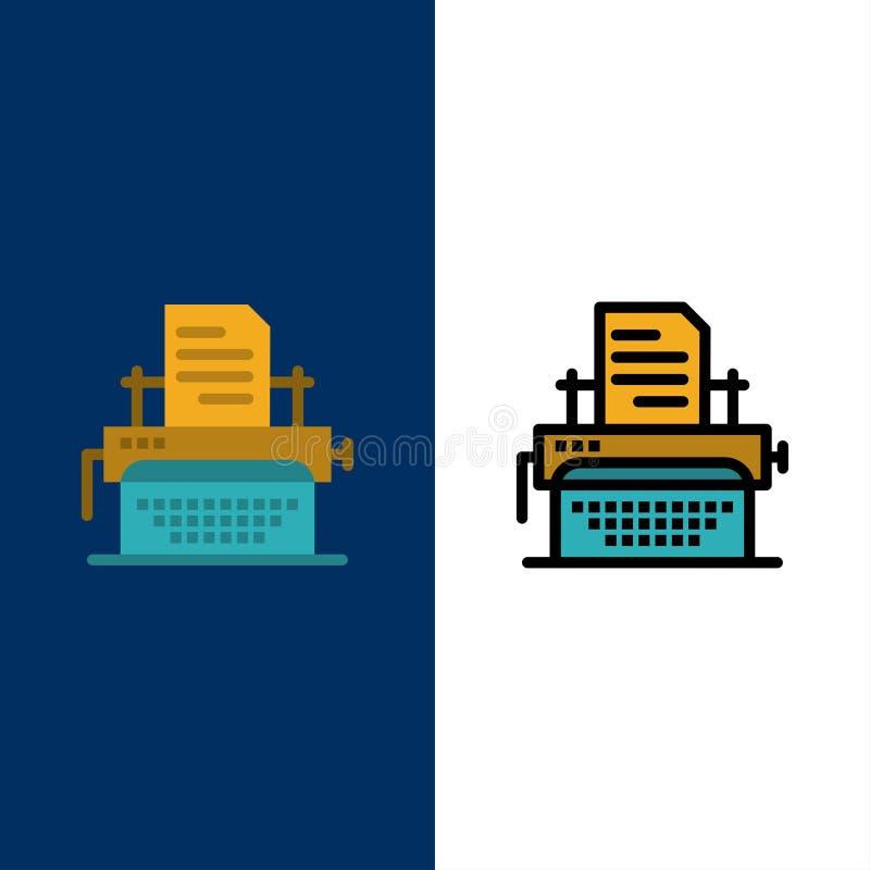 La machine à écrire, dactylographiant, document, éditent des icônes L'appartement et la ligne icône remplie ont placé le fond ble illustration stock