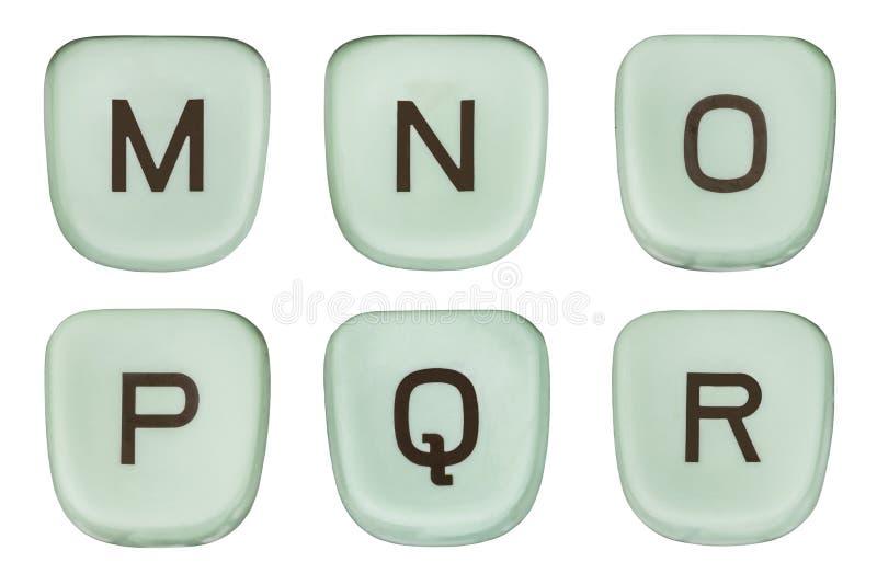 La machine à écrire verte de vintage verrouille les lettres M Through R photographie stock libre de droits