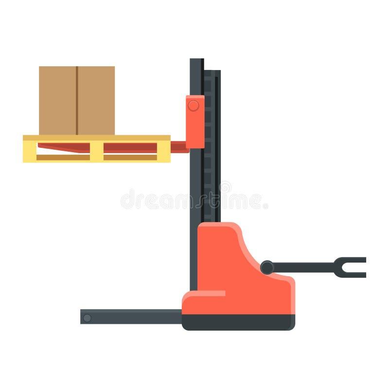La machine pour la cargaison enferme dans une boîte le mouvement et les camions chargent illustration libre de droits