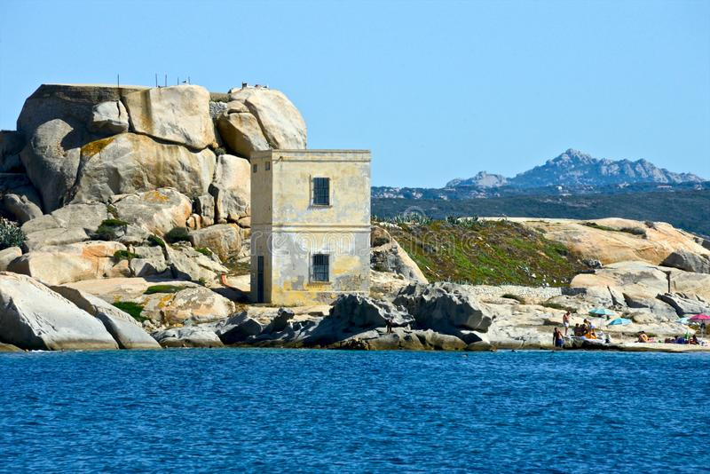 La Maddalena coast seen from the sea with turret stock image