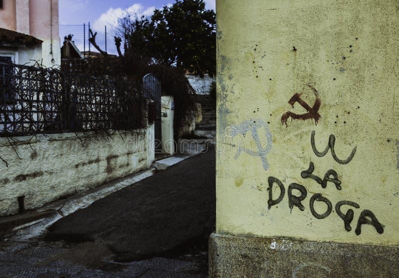 La Maddalena, Sardinien, Italien, kommunistische Symbole lizenzfreie stockfotos