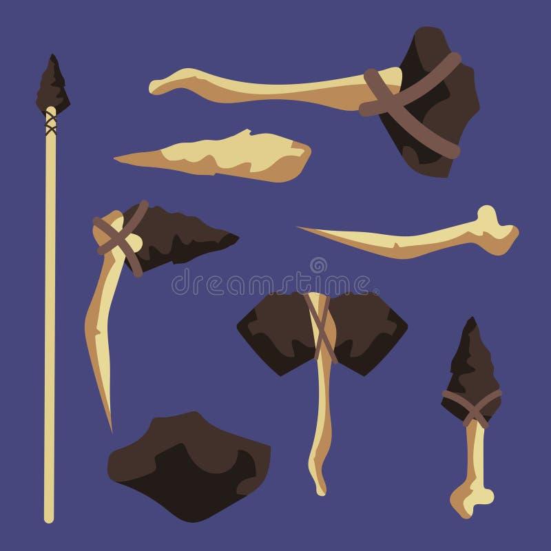 La madera, hueso, las herramientas antiguas de piedra vector el ejemplo stock de ilustración
