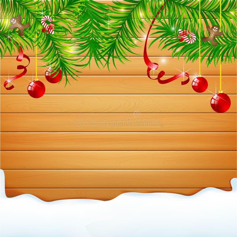 La madera realista de la naturaleza del fondo abstracto con la bola roja de la Navidad y la cinta vector el ejemplo stock de ilustración