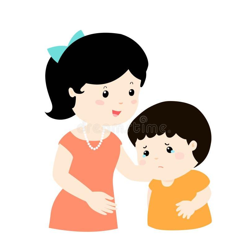 La madre calma al hijo gritador stock de ilustración