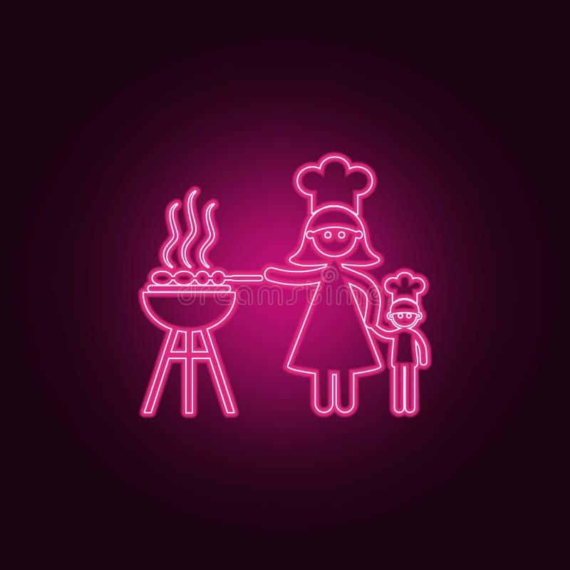 la madre cocina el icono de la barbacoa Elementos de la familia en los iconos de neón del estilo Icono simple para las páginas we stock de ilustración