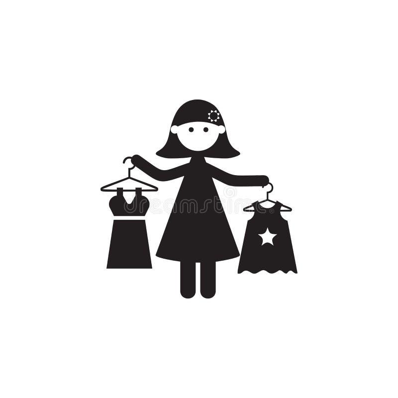 la madre compra l'icona dei vestiti della figlia Illustrazione dell'icona di valori familiari Progettazione grafica di qualità pr illustrazione di stock