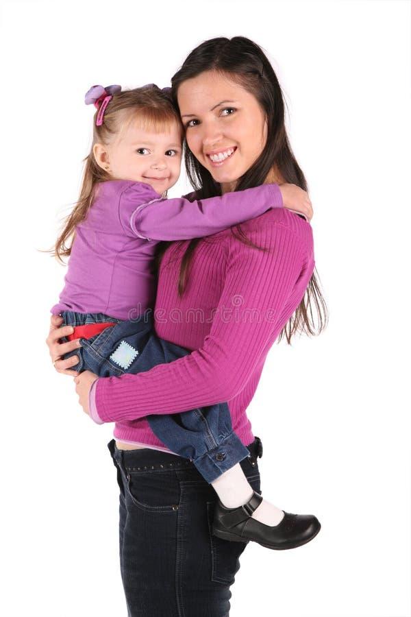 La madre con il bambino ha isolato 2 fotografie stock
