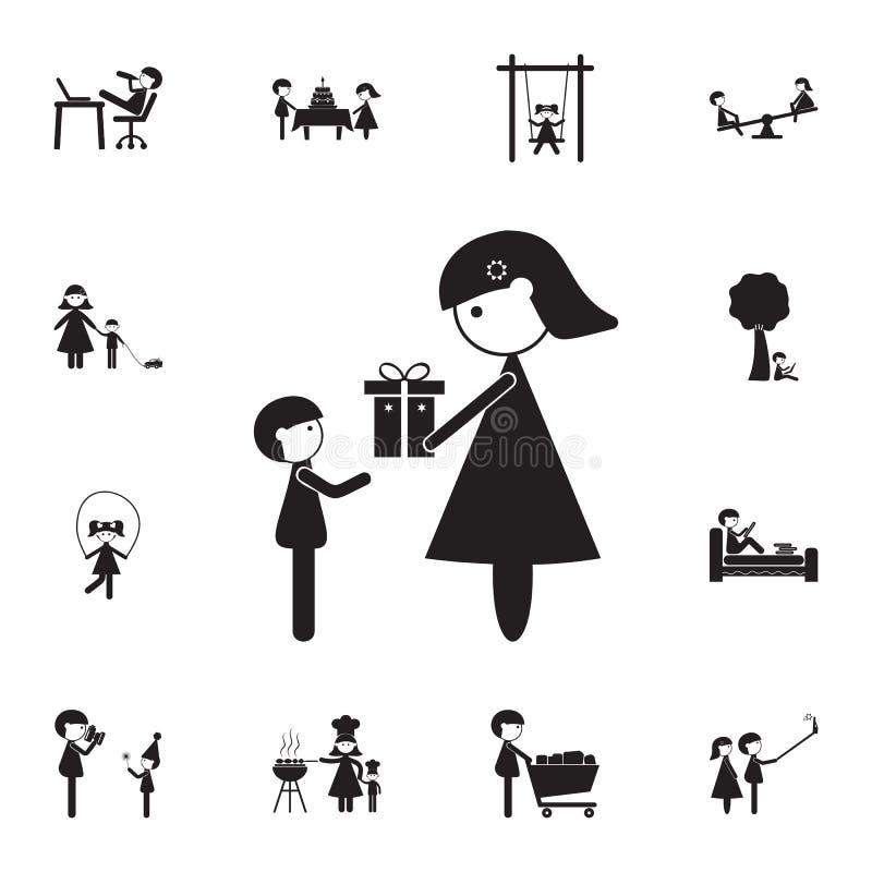 la madre da un regalo a su icono del hijo Sistema detallado de iconos de la familia Muestra superior del diseño gráfico de la cal ilustración del vector