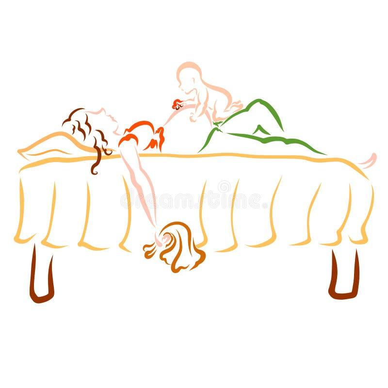 La madre embarazada se cayó dormido después de limpiar, juegos del bebé en su estómago ilustración del vector