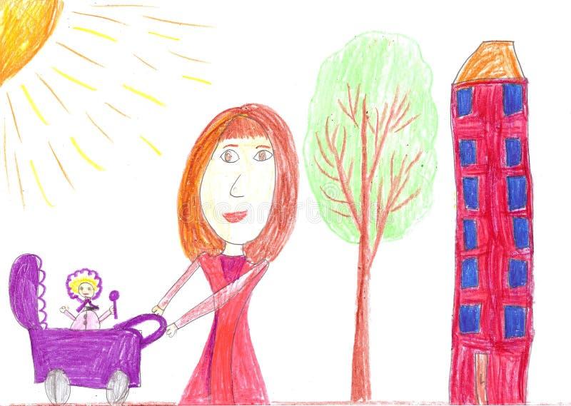 La madre feliz de dibujo del niño con el cochecillo de bebé stock de ilustración
