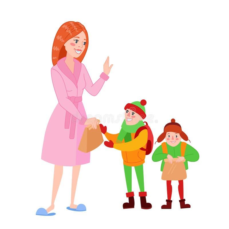 La madre feliz prepara a sus hijos para la escuela Mamá de la historieta que da el almuerzo al muchacho Concepto del Parenting ilustración del vector