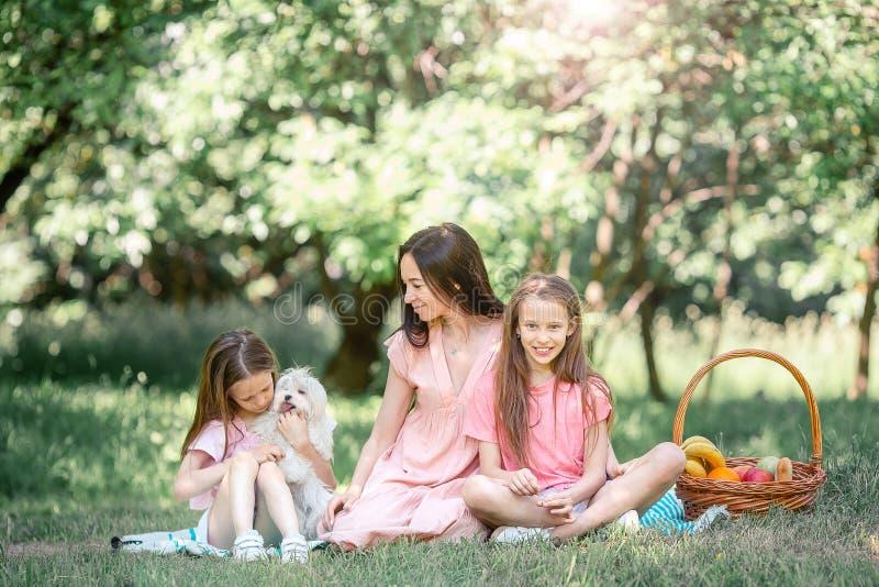 La madre feliz y los pequeños daughers se relajan por el lago foto de archivo libre de regalías