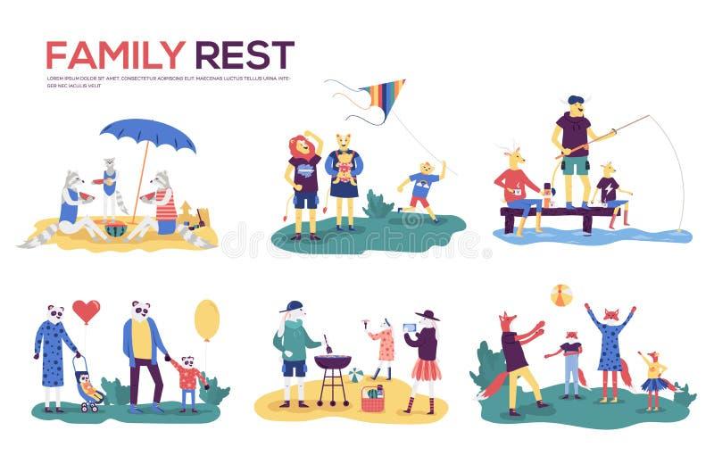 La madre, il padre ed i bambini del fumetto prendenti il sole, camminando, nuotanti, pilotano un aquilone, pesca, preparante insi illustrazione vettoriale