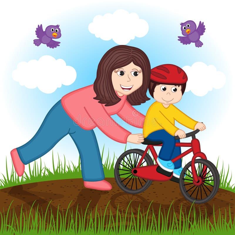 La madre insegna ad un bambino a guidare una bici royalty illustrazione gratis