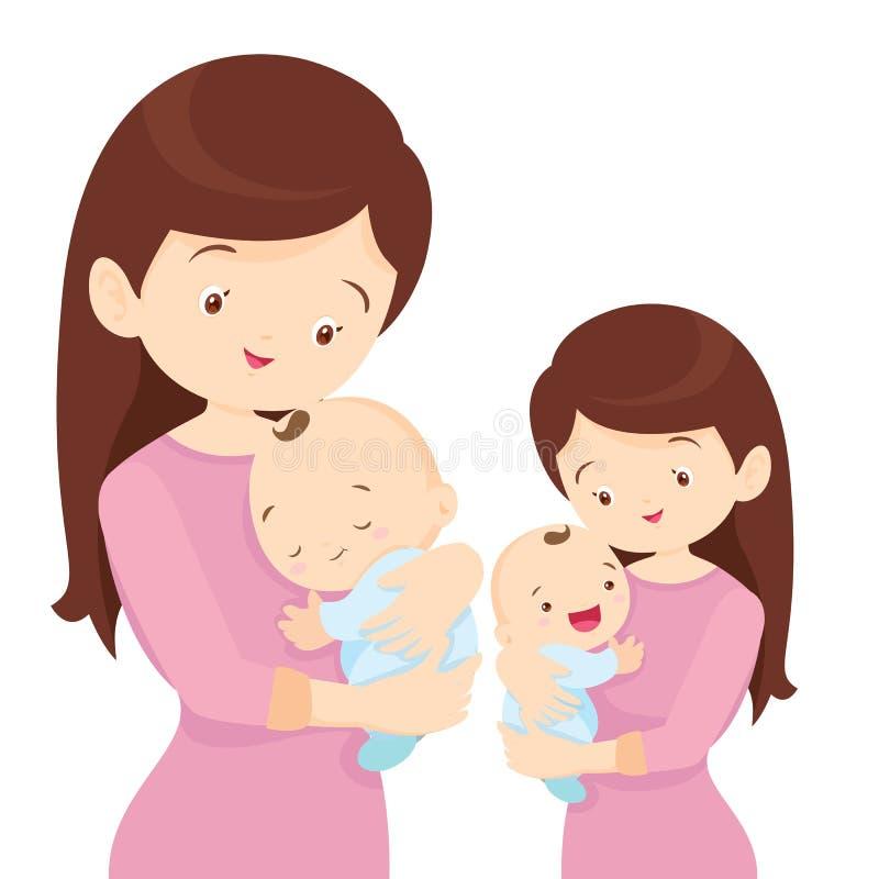 La madre joven está celebrando a su pequeño bebé ilustración del vector