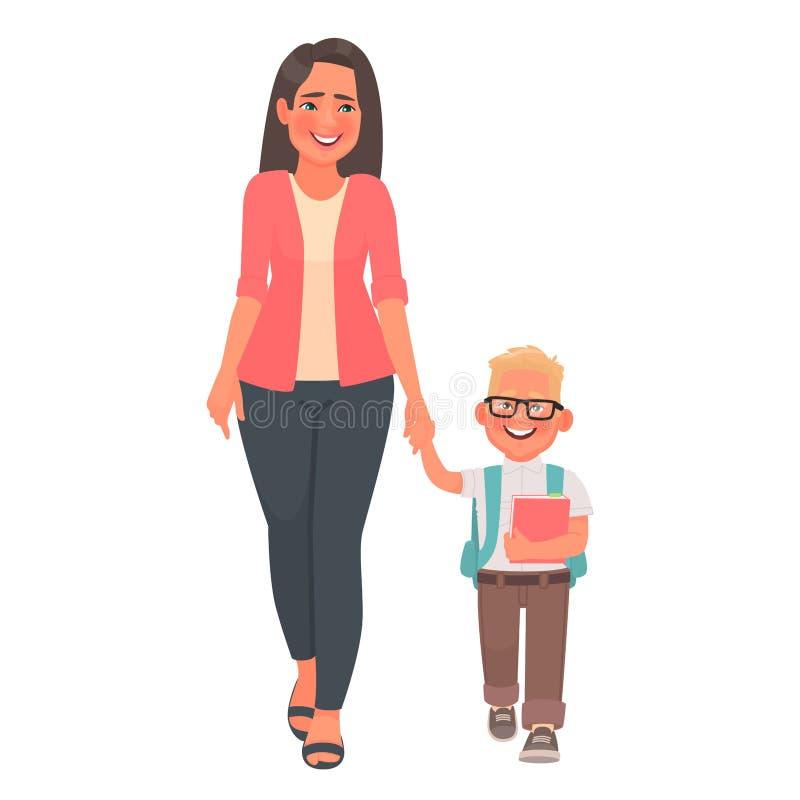 La madre lleva a su hijo al primer grado El ir de la mamá y del colegial está celebrando las manos De nuevo a escuela stock de ilustración